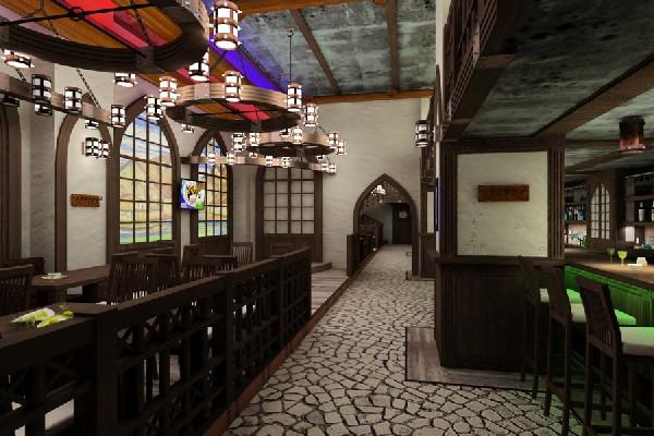 Design of interior beer restaurant in roman gothic style